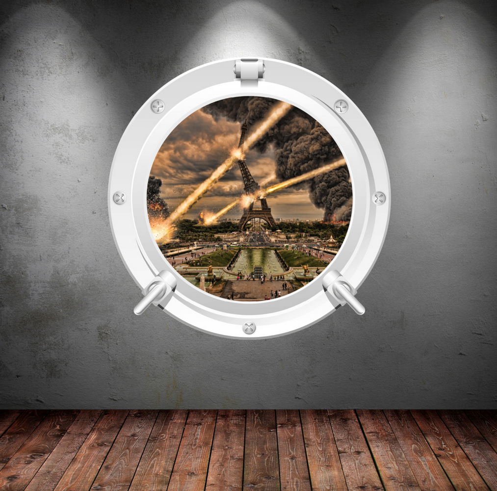 Full Colour 2D Eiffel Tower Paris Porthole Wall Sticker WSD338