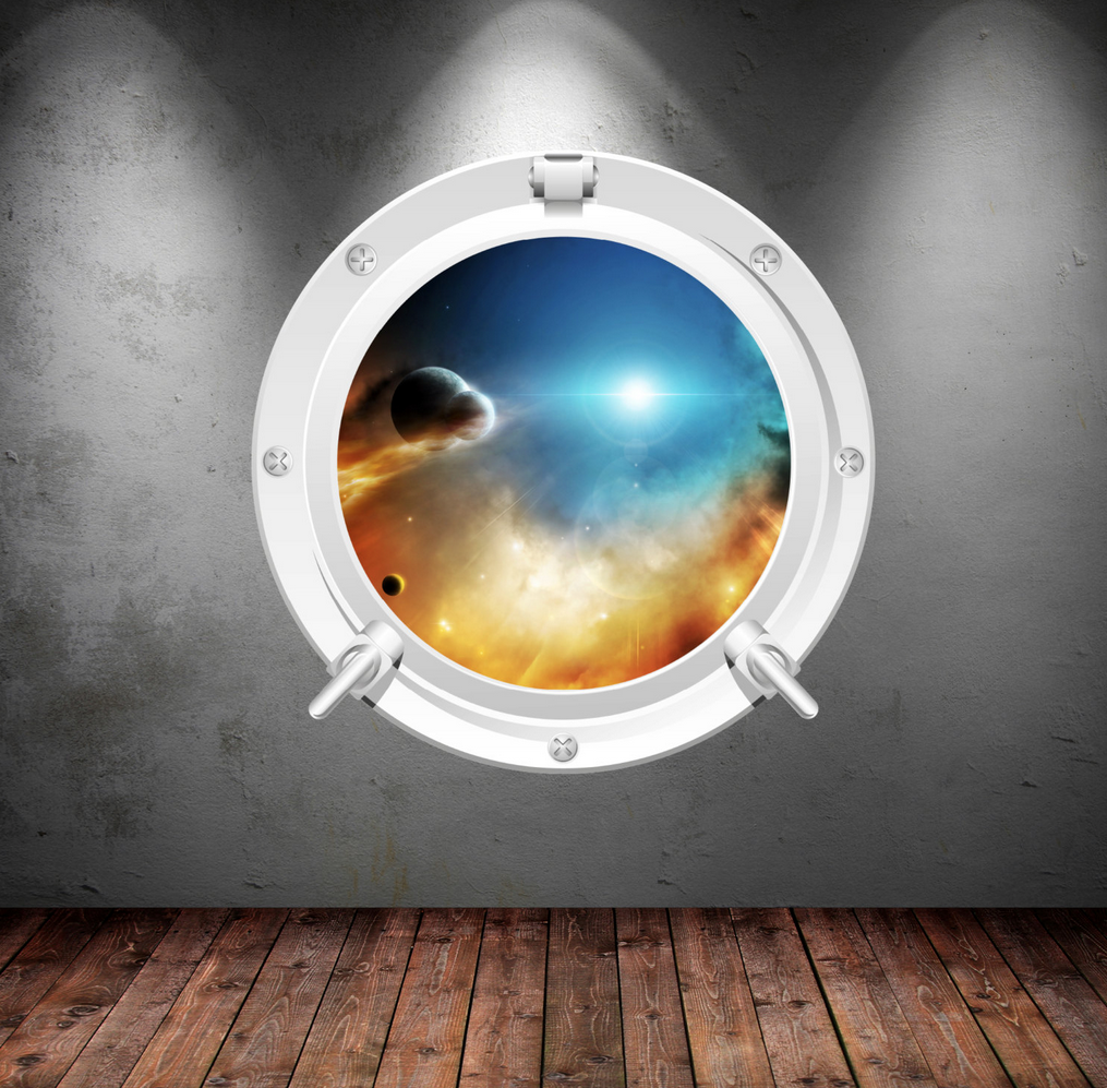 Full Colour 2D Space Porthole Wall Sticker WSD649