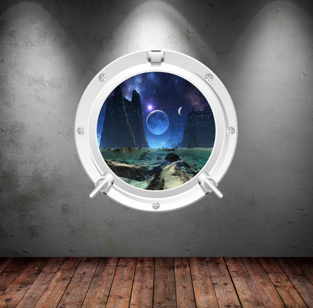 Full Colour 2D Space Porthole Wall Sticker WSD629