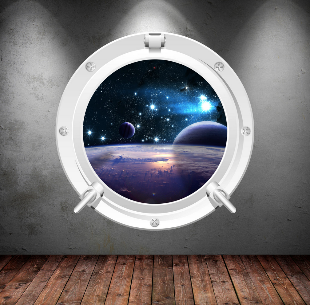 Full Colour 2D Space Porthole Wall Sticker WSD69