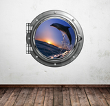 Full Colour 2D Dolphin Porthole Wall Sticker WSD580