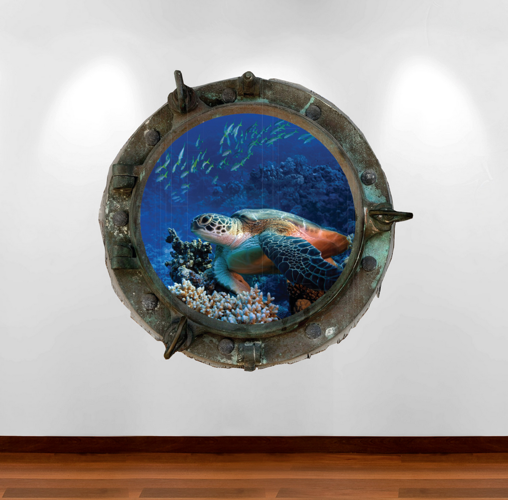 Full Colour 2D Turtles Porthole Wall Sticker WSD633