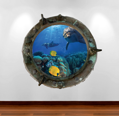 Full Colour 2D Dolphin Porthole Wall Sticker WSD575