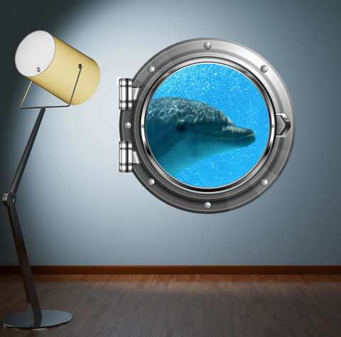 Full Colour 2D Dolphin Porthole Wall Sticker WSD576