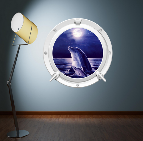 Full Colour 2D Dolphin Porthole Wall Sticker WSD577