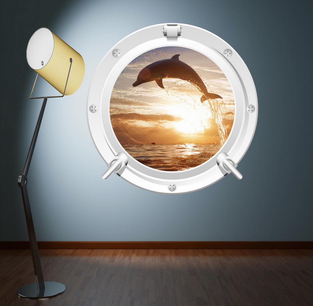 Full Colour 2D Dolphin Porthole Wall Sticker WSD582