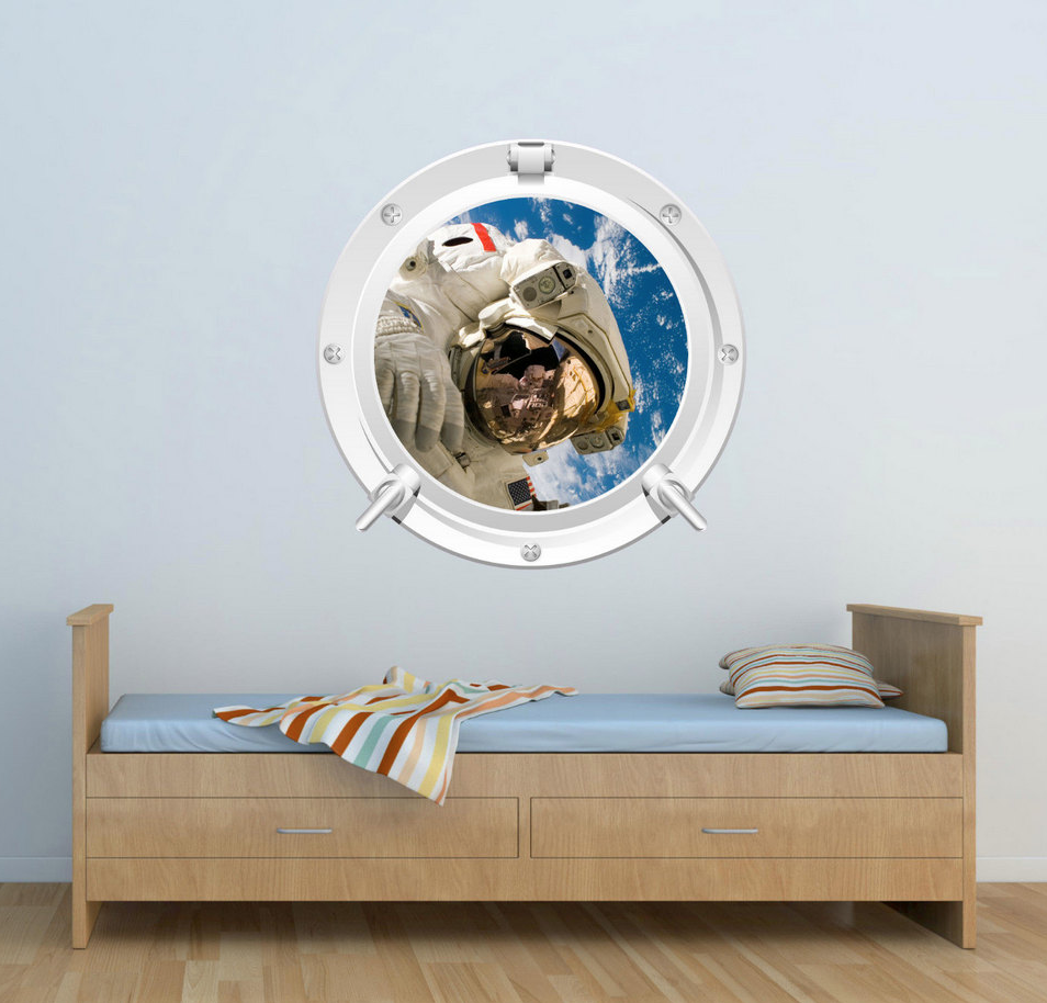 Full Colour 2D Space Astronaut Porthole Wall Sticker WSD639