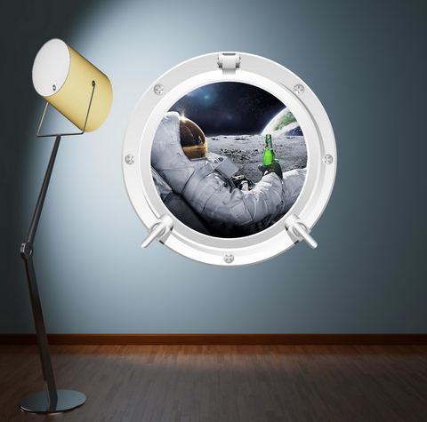 2D Full Colour Space Astronaut Porthole Wall Sticker WSD223