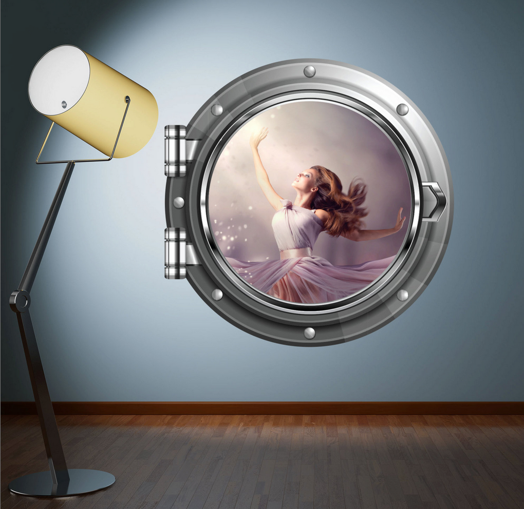 Full Colour 2D Princess Fairy Porthole Wall Sticker WSD635