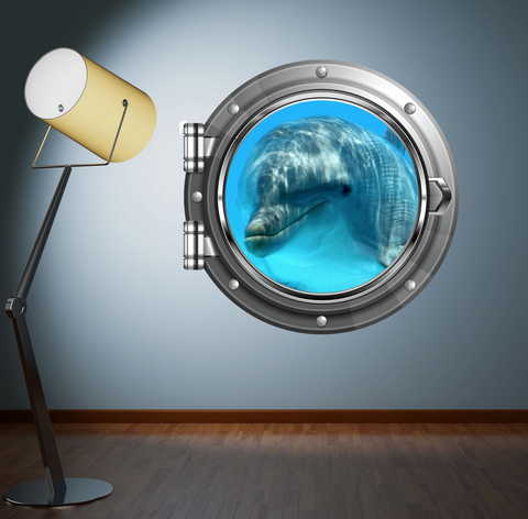 Full Colour 2D Dolphin Porthole Wall Sticker WSD573