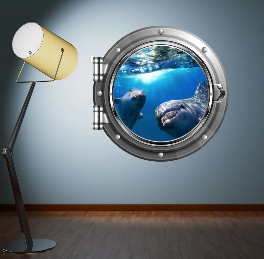 Full Colour 2D Dolphin Porthole Wall Sticker WSD572