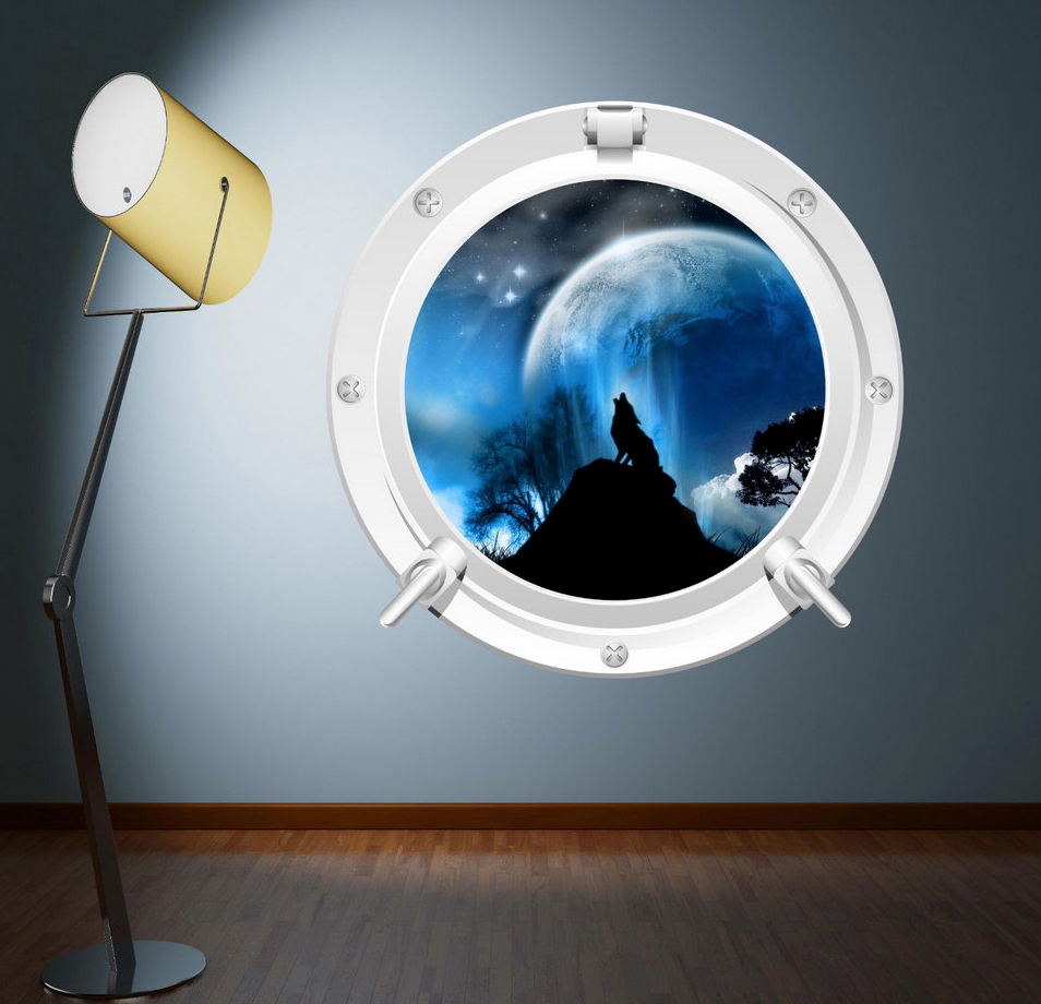 Full Colour 2D Night Wolf Porthole Wall Sticker WSD100