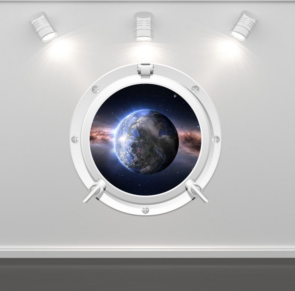 Full Colour 2D Earth Porthole Wall Sticker WSD70
