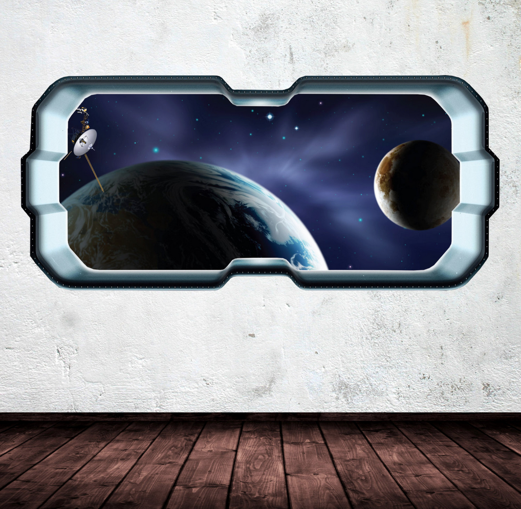 3D Full Colour Space Earth Window Wall Sticker WSD271