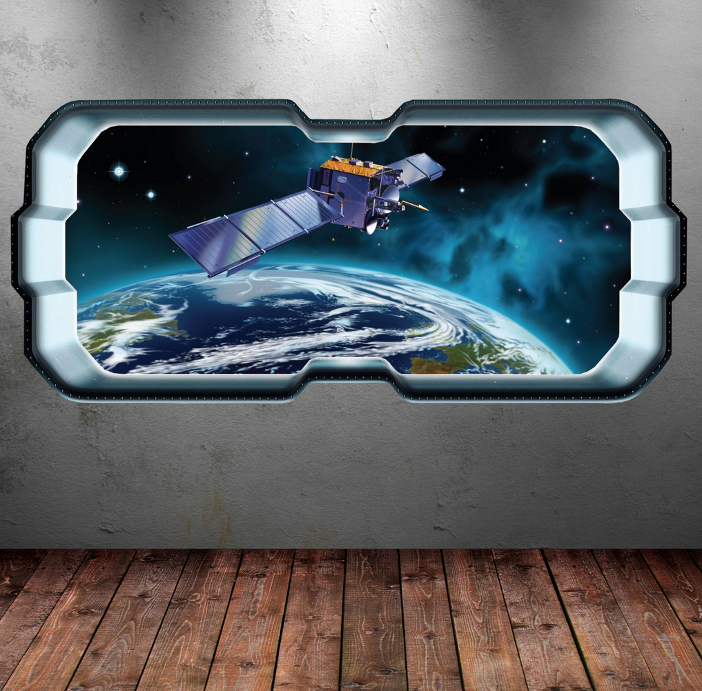 3D Full Colour Space Astronaut Window Wall Sticker WSD289