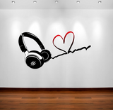 2D Love Music DJ Headphones Wall Sticker WSD14