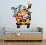 2D Zoo Animal Cartoon Bus Wall Sticker WSD232