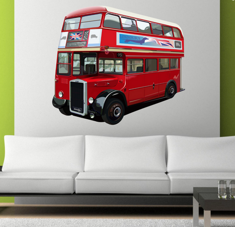 2D London Red Bus Wall Sticker WSD48