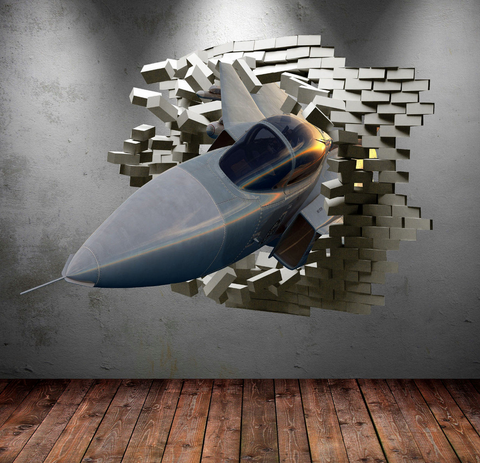 3D Army Fighter Jet Plane Wall Sticker WSD237