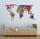 2D World Map Atlas Wall Sticker WSD231