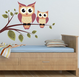 2D Cute Owls Wall Sticker WSD218