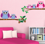 2D Cute Cartoon Owls Wall Sticker WSD217