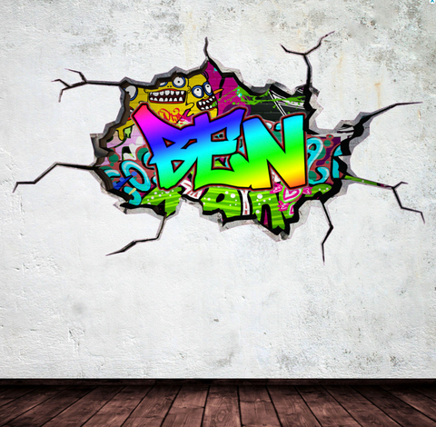 Full Colour Personalised Graffiti Wall Sticker WSD152