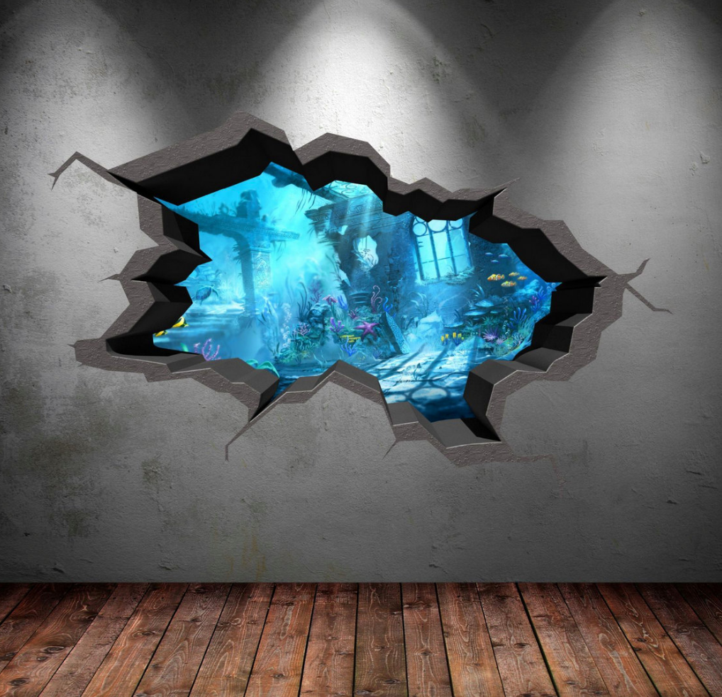 3D Sea Of Atlantis Wall Sticker WSD570