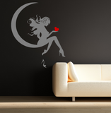 Fairy Moon Heart Vinyl Wall Art Sticker WSD591