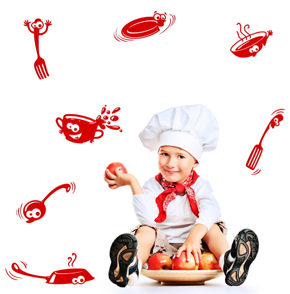 Cartoon Kitchen Cupboard Vinyl Wall Art Stickers WSD599