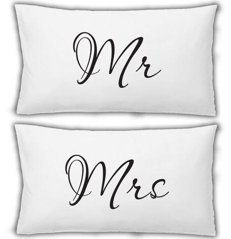 Pillow case 2x White Pillowcase Mr And Mrs WSD686
