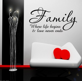 Family Love Life Begins Wall Art Sticker Quote WSD705