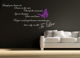 Forgive Forget Memories Love Butterfly Wall Quote WSD716