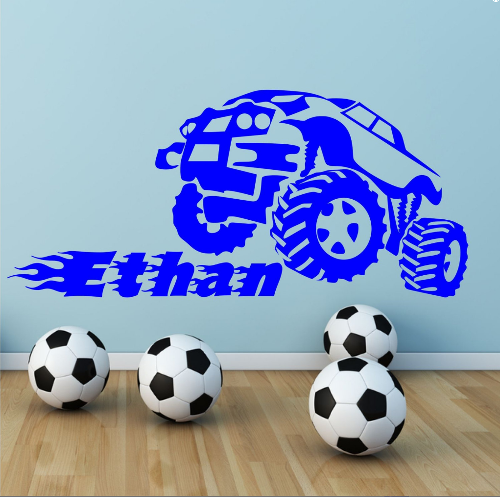Personalised Monster Truck Name Wall Sticker WSD722