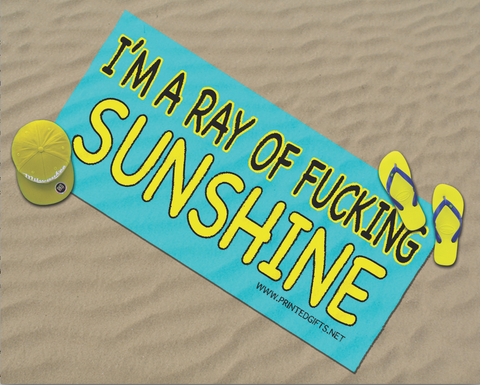 Large Novelty Microfibre Beach Towel I'm A Ray Of Fucking Sunshine Swearing Funny Holiday Gifts Sun bed Towel Adult Humour Present Holiday Towels Sun bed WSDBT2