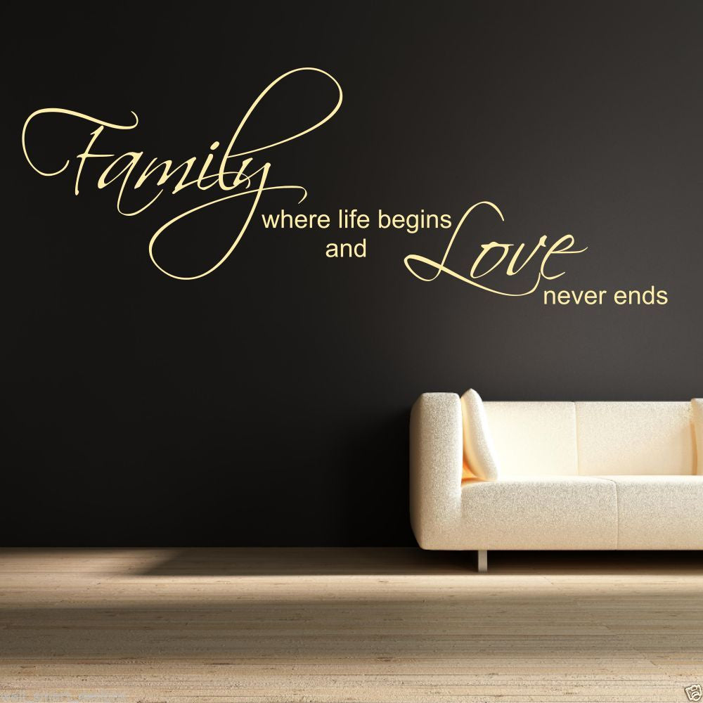 Family Love Life Begins Wall Quote WSD418