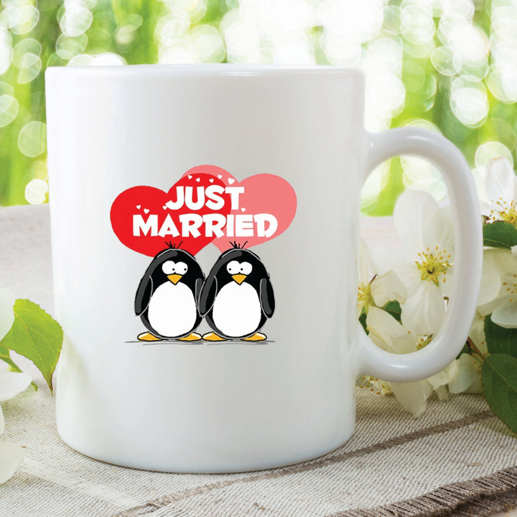 Novelty Mug Funny Just Married Mug Penguins Mug Wedding Day Gifts Printed Mug For Friend Wedding Day Present Married Couples Mug WSDMUG202