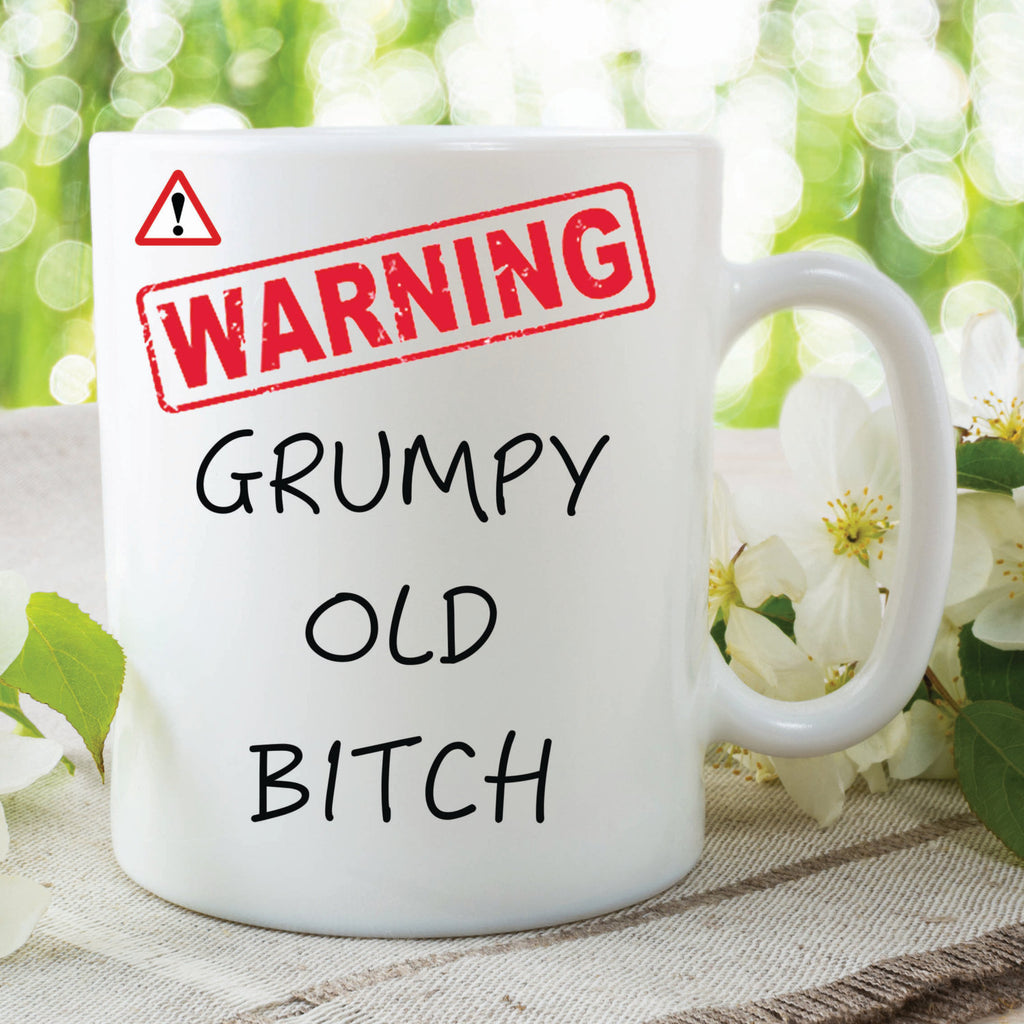 Novelty Mug Warning Grumpy Old Bitch Present Gift Funny Cup For Friend Girlfriend Wife Mug Christmas Gift Birthday Secret Santa WSDMUG228