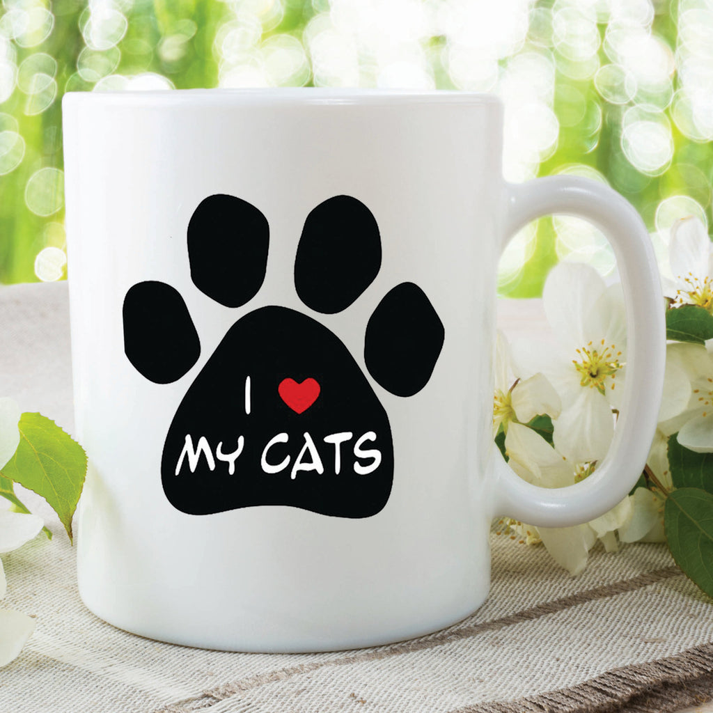Printed Ceramic Mug I Love My Cats Gift Present Cat Lovers Christmas Cup Mug Gift For Friend Loves Cats Heart Secret Santa Xmas WSDMUG352