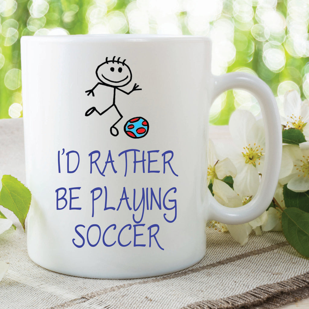I'd Rather Be Playing Soccer Mug Gift Soccer Lover Husband Wife Boyfriend Girlfriend Cup Stocking Filler Secret Santa Football WSDMUG492
