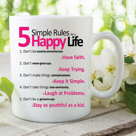 5 Simple Rules Happy Life Quote Mugs Printed Ceramic Cups Work Office Mugs Inspiration Mugs Christmas Birthday Gift For Friend WSDMUG518