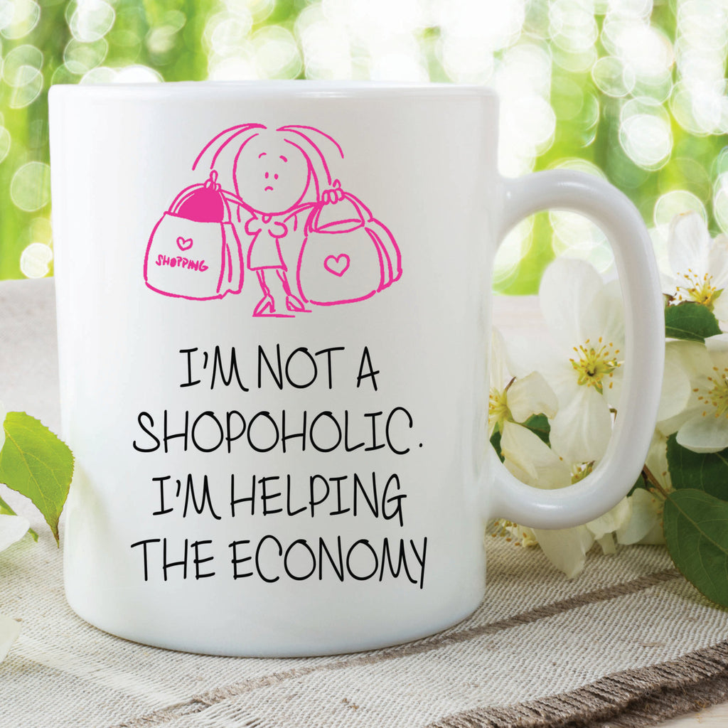 Funny Novelty Mugs Shopoholic Loves Shopping Gift For Friend Girlfriend Daughter Mothers Day Gift Printed Cups Best Friend Gifts WSDMUG545