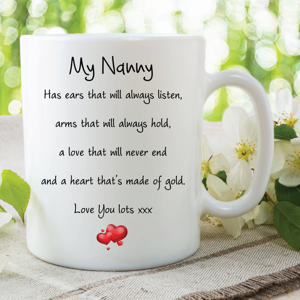 Nanny Mug Love You Lots Heart Of Gold Always Listens Gifts For Her Birthday Gift Christmas Present Quote Mugs Cups Nana Grandma WSDMUG582