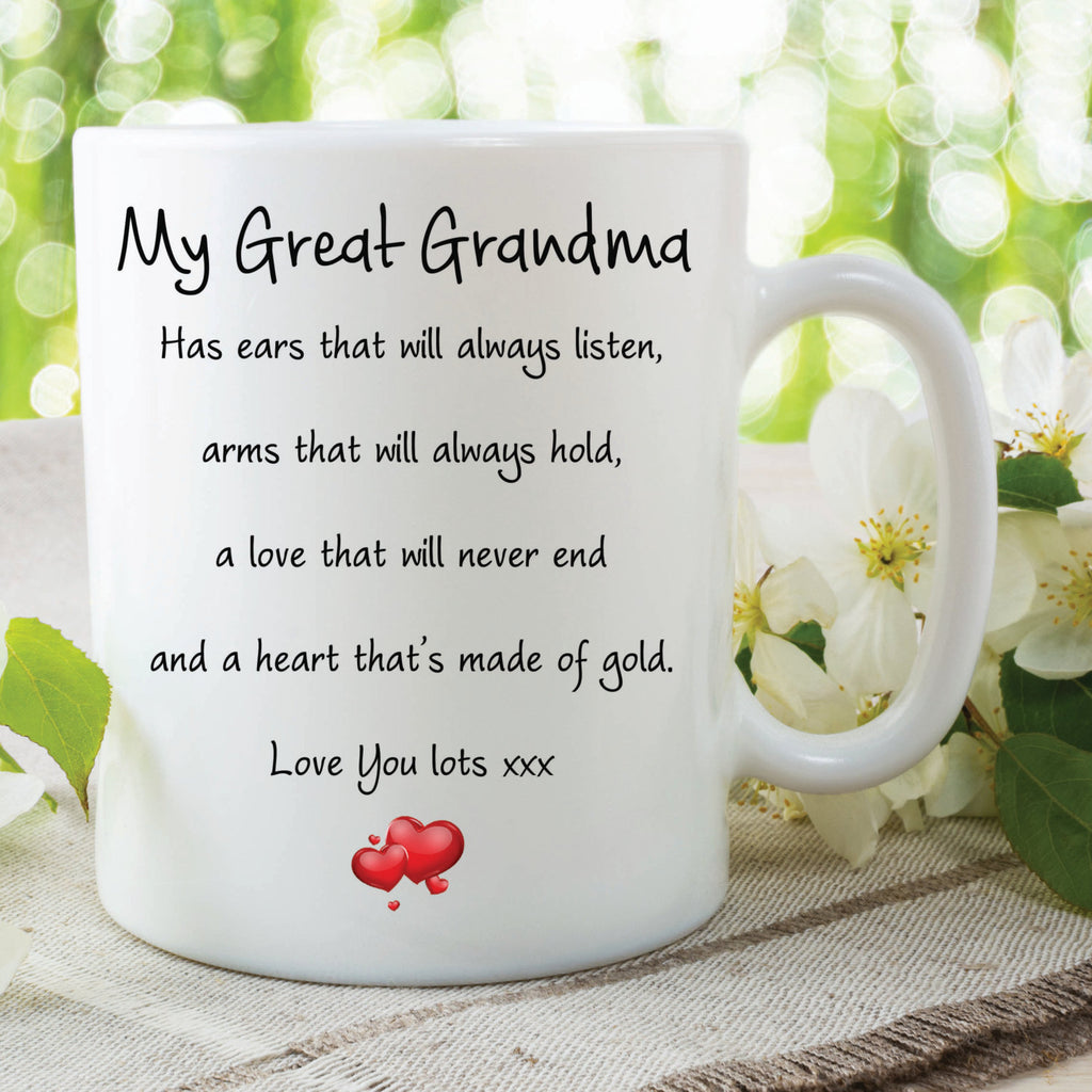 Great Grandma Mug Love You Lots Heart Of Gold Always Listens Gifts For Her Birthday Gift