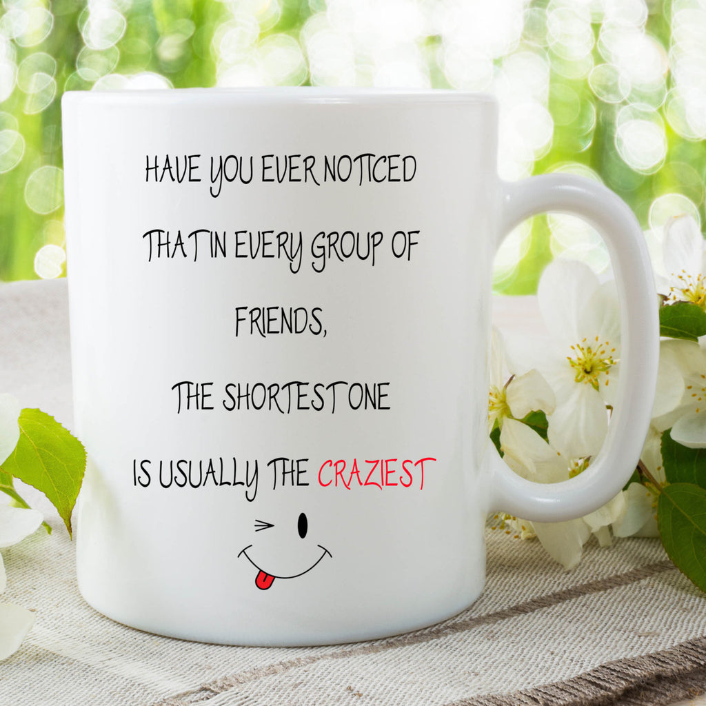 Printed Mug Ceramic Novelty Shortest Friend Is the Craziest Friends Coffee Mug Tea Mug Funny Cup Gift Present Secret Santa Gifts WSDMUG24
