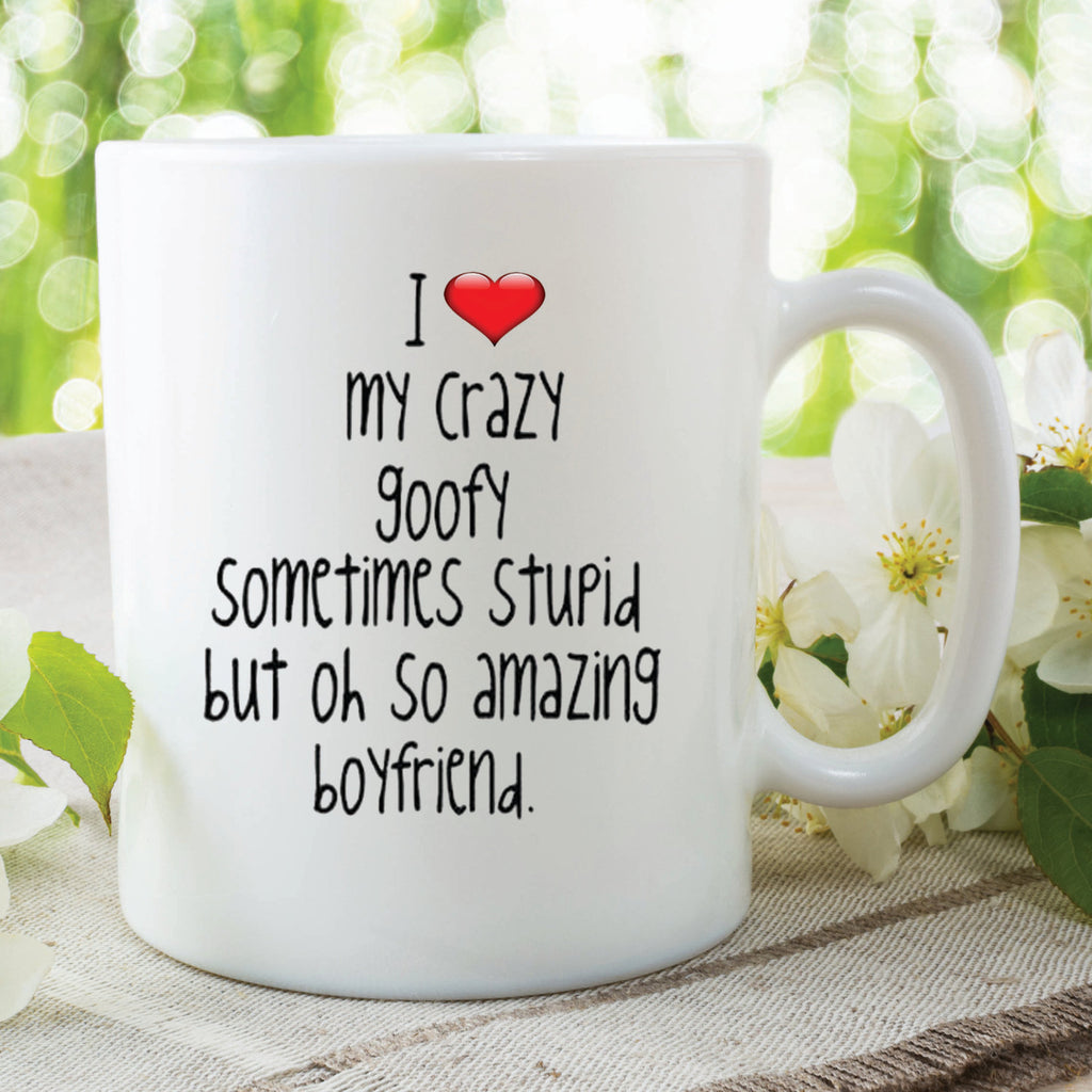 Novelty Mug I Love My Crazy Boyfriend Valentines Gift Birthday Present Peachy Cards