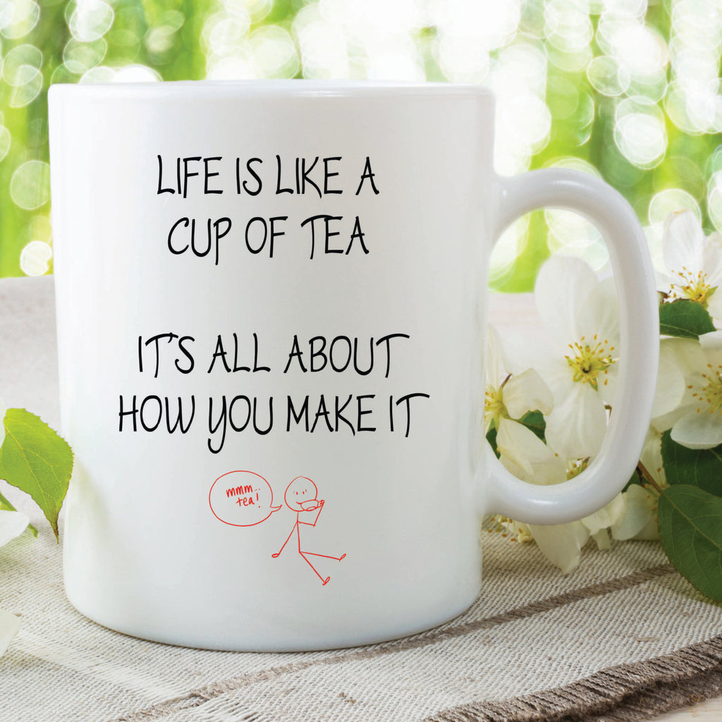 Printed Ceramic Mug Life Is Like A Cup Of Tea Gift For Her Him Girlfriend Boyfriend Birthday Christmas Novelty Funny Wedding WSDMUG468