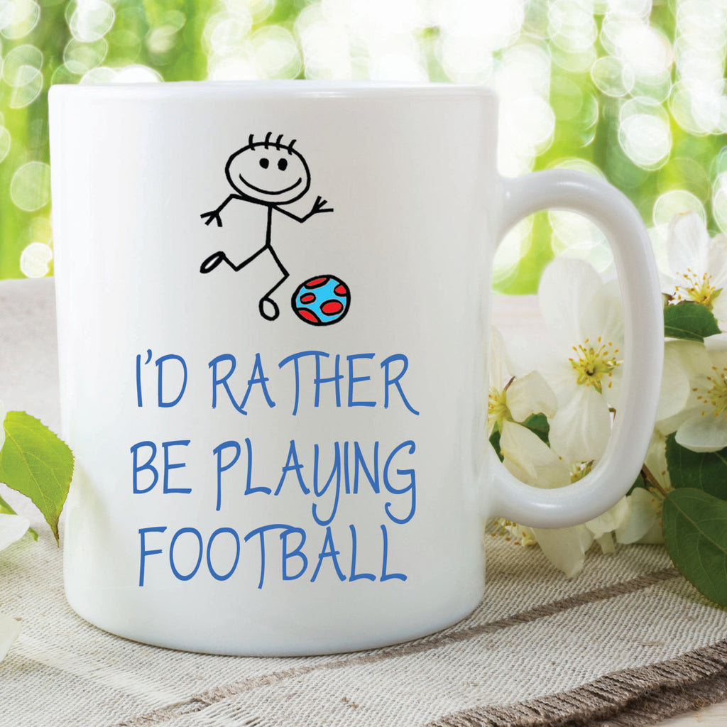 I'd Rather Be Playing Football Mug Gift Football Lover Husband Wife Boyfriend Girlfriend Cup Stocking Filler Secret Santa Birthday WSDMUG491