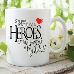 Printed Ceramic Mugs My Dad Is A Hero Dad Mugs Fathers Day Gift Present Birthday Christmas Gifts For Him Fun Mugs Quote Cups WSDMUG567