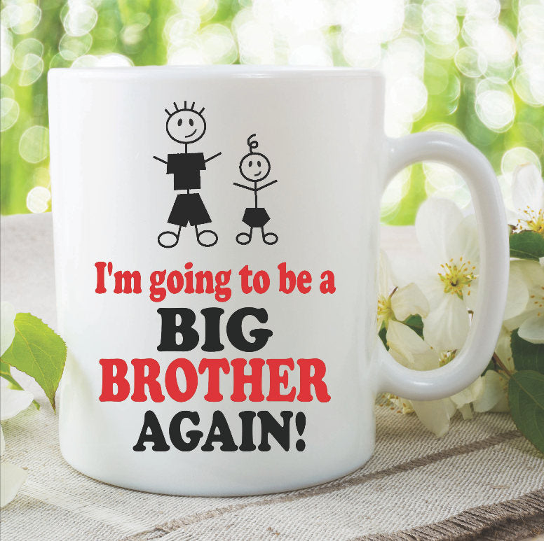 Big Brother Mugs I'm Going To Be A Big Brother Again New Baby Shower Pregnancy Announcement Children's Gift New Born Present WSDMUG905